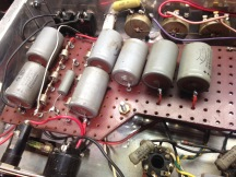 Here we find the original filter supply electrolytic capacitors. Notice the very primitive tag board used for this purpose. This was in the very earliest days of amplifier production at Marshall, and they were making a lot of it up as they went along.